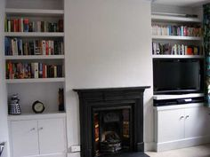 chimney breast alcoves built in shelves and cupboards Alcove Storage, Alcove Shelving, Alcove Cupboards, Built In Cabinets, Shelving Units, Shelving Ideas, Storage Shelves, Alcove Bookshelves, Built In Bookcase