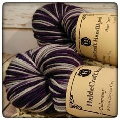 """Limited edition colorway """"When Doves Cry"""" in the Lynn base. Lynn is a soft springy DK weight yarn (so between sport and worsted weight). The skein comes in 231 yard/100 g putups and is great for fingerless gloves hats baby garments or even thick bed socks for cold weather."""