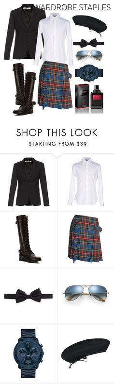 """Plaid"" by jesstu ❤ liked on Polyvore featuring McQ by Alexander McQueen, Armani Collezioni, Wanted, Jean-Paul Gaultier, Lanvin, Ray-Ban, Movado, kangol, Givenchy and men's fashion"