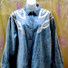 VINTAGE DENIM JACKET and skirt embroidered by blingblingfling