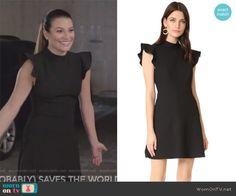80b615729f85 Valentina s black flutter sleeve flare dress on The Mayor. Outfit Details   https