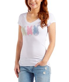 Love this White Bunny Trio V-Neck Tee - Women & Plus by Ready Set Sparkle Couture on #zulily! #zulilyfinds