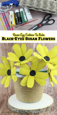 Have an empty egg carton? You can reuse egg cartons to make black-eyed Susan flowers! These are easy and turn out super cute! Easy Crafts To Make, Fun Crafts, Crafts For Kids, Flower Diy, Diy Flowers, Black Eyed Susan Flower, Egg Carton Crafts, Egg Cartons, Amazing Crafts