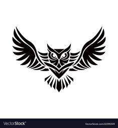 Owl logo - emblem design on w vector image on VectorStock Tribal Owl Tattoos, Geometric Owl Tattoo, Black Tattoos, Black Owl Tattoo, Owl Tattoo Small, Small Tattoos, Tattoos For Guys, Simple Owl Tattoo, Owl Tattoo Drawings