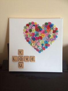 Love You Button Art Heart Canvas