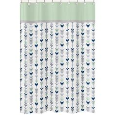 Give your bathroom a makeover in minutes with this blue, green, and grey arrow shower curtain. Add hip style to your bathroom decor when you hang this shower curtain. This curtain is made from 100-per