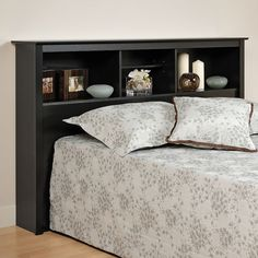 Prepac Full Queen Bookcase Headboard Black