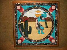 Home Decor, Handcrafted Picture, Southwest Style Art, Kokopelli, Cactus, Desert Landscape, Quilted Art, Fabric Art, Framed Art, Colorful. $29.95, via Etsy.