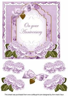 Lilac Rose Anniversary Fancy 7in Decoupage Topper on Craftsuprint - Add To Basket!