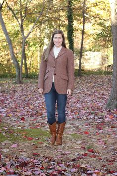 looking forward to fall outfits -- Harris tweed jacket, sweater, jeans, and boots // Hand Me Down Style: Harris tweed fall