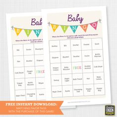 Instant Download - 50 Baby Shower Bingo Games with FREE Favor Tags - Twin Baby Shower - Neutral Baby Shower - Gay Baby Shower on Etsy, $5.00