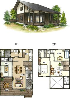 Sensei's house in the bamboo forest with an outside bathroom as well ★ Small Japanese House, Japanese Home Design, Japanese Style House, Traditional Japanese House, Modern House Floor Plans, Home Design Floor Plans, Dream House Plans, Small Modern Home, Modern Tiny House