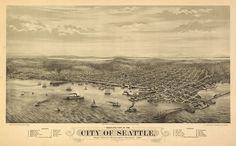 Vintage Map - Seattle, Washington 1878 $30