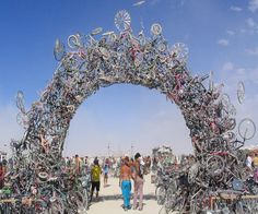 The Bike Arch is an amazing example of recycled art sculpture constructed by Mark Grieve and Ilana Spector. This