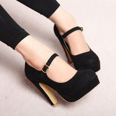 Mary Jane Suede Black Chunky High Heels