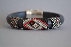 Licorice Leather Bangle Bracelet Leather Bangle by corporateschmad Seed Bead Bracelets, Seed Bead Jewelry, Bracelet Sizes, Bracelets For Men, Bangle Bracelets, Bangles, Heart Bracelet, Silver Bracelets, Bracelet Cuir