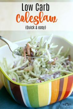 Quick and Easy Low Carb Coleslaw. This coleslaw takes 5 minutes to put together! Low Carb, Keto, Gluten Free, Grain Free, Soy Free, Nut Free, Sugar Free
