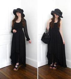 Seeberger Black Summer Hat, La Redoute Long Dress, H.Naoto Blood Bag, Zara Chiffon Black Skirt, Cable Platfoms Sandals