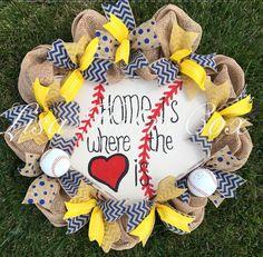 Baseball home-plate Home Is Where The Heart Is wreath