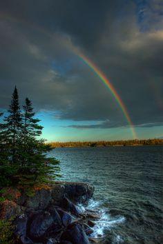 Rainbow over RaspberryIsland,  Keweenaw, Michigan, United States.