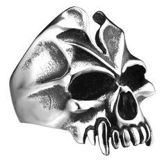 R&B Bijoux - Anneau Homme XL Crâne Cauchemar Style Gothique Collection Bad Ass - Acier Inoxydable - Bague 40mm (Argent, Noir): Amazon.fr: Bijoux