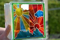 CLARICE CLIFF SUNSHINE Painted Glass Block, Night Light & Sun Catcher. Hand Painted & recycled. Home Decor, Garden Ornament, Glass Painting, Pop Art. Find it at Ornately Lanterns' Etsy shop: https://www.etsy.com/uk/shop/OrnatelyLanterns