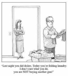 """Premium Giclee Print: """"Look at you—folding the laundry two days before couples therapy."""" - New Yorker Cartoon by Harry Bliss : Battlefield 1, Dota 2, Grand Theft Auto, League Of Legends, Overwatch, Xbox One, Therapy Humor, Gun Humor, Nintendo"""