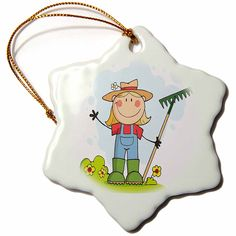 3dRose orn_118628_1 Cute Stick Figure Girl Gardener Farmer-Snowflake Ornament, Porcelain, 3-Inch => Stop everything and read more details here! : Christmas Decorations
