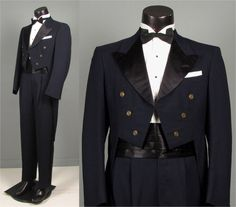 Vintage 1950s Mens Suit of Tails  Midnight Blue by jauntyrooster