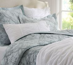 Candlewick Quilt & Sham - Porcelain Blue #potterybarn. Just bought this and it's gorgeous!!