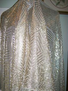 LOVE!  ANTIQUE ASSUIT TULLE BI TELLI SHAWL 1920 VERY HEAVY LARGE SPARKLING BEAUTY