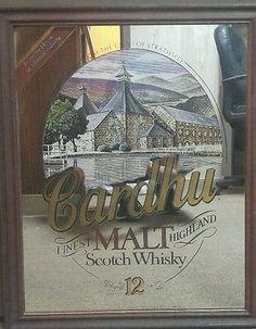 Johnnie Walker Cardhu Malt Scotch Whiskey Bar Mirror Wall Hanging 22X18 VTG Bar