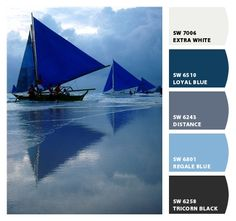 sailing blues. love when the color names match the image. Paint colors from Chip It! by Sherwin-Williams