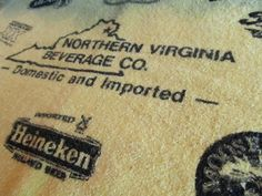Yellow Vintage Barback Towel, Northern Virginia Beverage co, Heineken, Amstel, vintage bar decor, FREE Shipping by TheRecycledGreenRose on Etsy