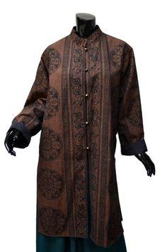 Ganesh Himal Cotton Coat Sz L XL Black Brown Rococo Print Hand Woven #GaneshHimal #BasicCoat #Nepal #Handwoven #Black #Brown #rococodesign Majestic longer hand-loomed coat from Ganesh Himal!