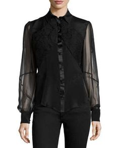 Sheer-Sleeve+Embroidered+Blouse++by+Zac+Posen+at+Neiman+Marcus.
