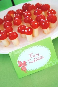 Cheery tomato and mozzarella cheese stick? tinkerbell birthday party food ideas   Tinkerbell Party