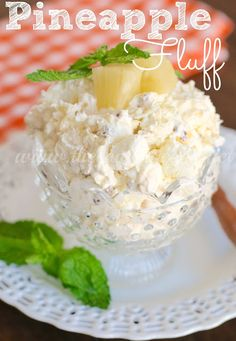 Pineapple Fluff ~ In a large bowl, stir together one 3.4 oz box vanilla or coconut cream instant pudding & 20 oz can crushed pineapple (undrained). Gently stir in 2 cups marshmallows, 1 cup flaked coconut, ½ cup chopped pecans, then 8 oz thawed Cool Whip. Cover bowl with plastic wrap & chill for several hours or overnight.  **Super-easy, great for a crowd.