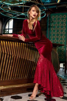 Cristallini - Long Sleeve Velvet Gown with Lace Flare – Couture Candy Maroon Shirt Outfit, Maroon Shirts, Long Sleeve Velvet Gown, Shades Of Burgundy, Red Plum, Burgundy Color, Dark Red, Trumpet Skirt, Velvet Fashion