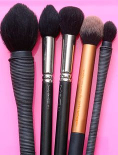 5 Awesome Face Makeup Brushes I Use Every Day.  From the left: NARS Mie Kabuki Brush ($55), MAC 138 Tapered Face Brush ($53), MAC 109 Small Contour Brush ($35), Real Techniques Contour Brush ($17.99; one of four brushes from the Core Collection set) and NARS Kabuki Eye Brush (not currently available)