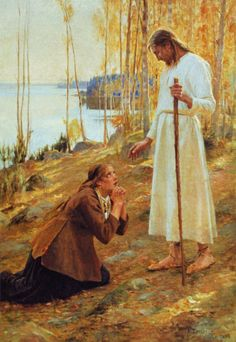 """sherripage: """" Albert Edelfelt , Kristus ja Mataleena, 1890 Edelfelt has placed Christ in a Finnish landscape, in a grove of birches beside a lake. He wears bast shoes. The model for Christ was Finnish painter Magnus Enckell, and the model for Mary. Christian Images, Christian Art, Lds Art, Bible Art, Catholic Art, Religious Art, Arte Lds, Maria Magdalena, Marie Madeleine"""
