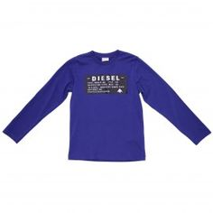 T-shirt stampata in jersey di cotone blu royal
