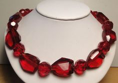 Vintage Chunky Glass Crystal Bead Necklace Ruby Red