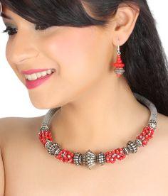 Art Mania's Red Beaded Hasli Necklace Set