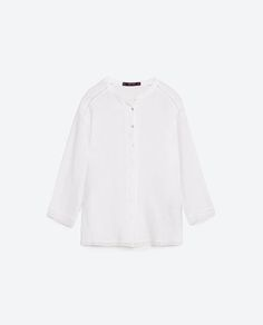 Image 6 of LINEN SHIRT WITH LACE TRIM DETAIL from Zara