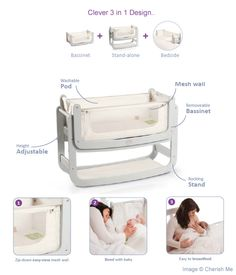 Snuzpod bedside crib. Love the open side version, a perfect way to have your baby sleep near you without having him on the bed the whole time.