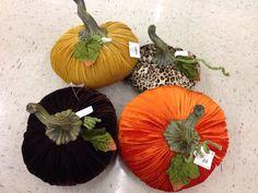 DIY velvet pumpkins - fall/autumn/Halloween decoration idea photo. (Try a dried real pumpkin stem)