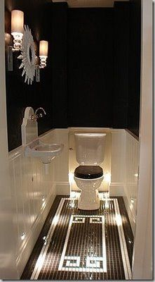 black and white vintage floor tile design toilet for Dad's powder room Interesting backsplash for sink. Wc Decoration, Toilet Closet, Tiny Powder Rooms, Black Powder Room, Downstairs Toilet, Beautiful Bathrooms, Glamorous Bathroom, Small Bathroom, Bathroom Black