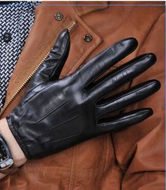 100% sheep skin touch screen gloves men classic style pure genuine leather gloves for winter smart phone gloves