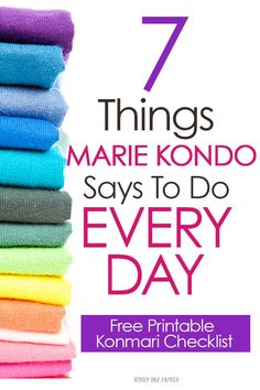 7 Things Marie Kondo Says To Do Every Day A daily to do list inspired by Marie Kondo's decluttering method. Includes a free printable Konmari checklist for your Happy Planner! Deep Cleaning Tips, House Cleaning Tips, Spring Cleaning, Cleaning Hacks, Diy Hacks, Daily Cleaning Checklist, Declutter Your Home, Organizing Your Home, Organizing Tips